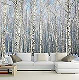 Kuamai Benutzerdefinierte 3D Tapeten Naturlandschaft Wandmalereien Winter Birkenwald Landschaft Tapete Große Wandbild Für Wohnzimmer Sofa Tv Hintergrund-350X250cm