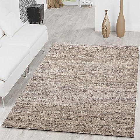 Teppich Braga Modern Kurzflor Teppiche Wohnzimmer Einfarbig Meliert Uni Creme , Größe:160x220 cm