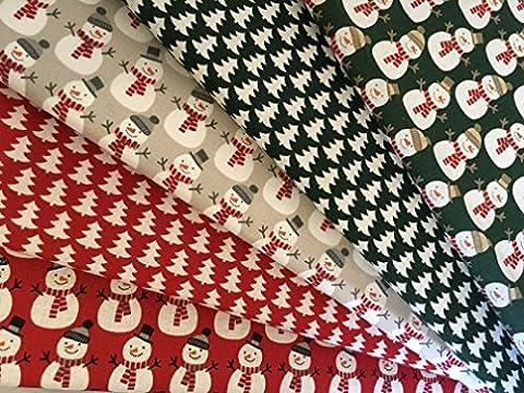 The Craft de jonction 5x 100% coton de Noël Vert, Beige et rouge bonshommes de neige et arbre de Noël Tissu pièces F55