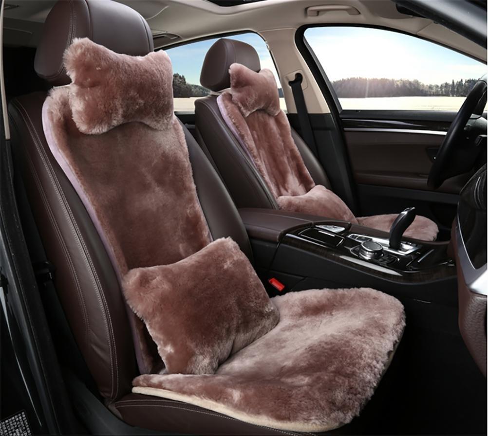 RUIRUI Coprisedili invernale caldo lana Peluche caldo corto Copertura sedile auto , Camel