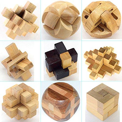 Holzsammlung 9 Stück 3D Puzzle Holz Gehirnjogging Puzzles Geschicklichkeitsspiel Denksportaufgaben Geschenk Set #2 Metall-rätsel-würfel