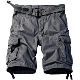 """TRGPSG Men's Camo Multi-Pocket Relaxed Fit Casual Shorts, Outdoor Camouflage Twill Cargo Shorts 11"""" Inseam"""