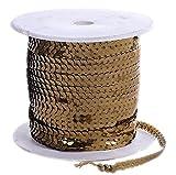 SiAura Material 1 Rolle Paillettenband Flachrund, Breite 6mm, Ca. 90m, Goldfarben