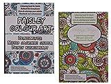 2 Stück Din A4 große Erwachsenen Anti-Stress und Meditation Malbücher, Thema Paisley Muster & Entspannungstherapie