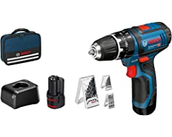 Bosch Professional 12V System accuschroefklopboormachine GSB 12V-15 (boor-Ø hout max: 19 mm, incl. 2x 2,0 Ah accu + oplader,