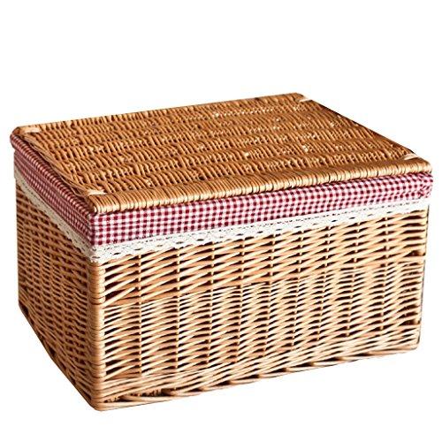 BBYE Willow Boxes Panier De Rangement / Panier De Rangé De Vêtements Sale / Panier De Lavage De Salle De Bain / Avec Panier De Rangement De Couverture (Style Optionnel) ( couleur : Light Color-2 , taille : L )