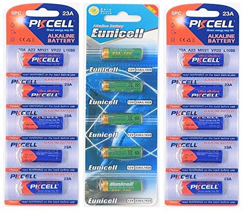 PKCELL 15 x 23A 12V (10 Batterien u. 5 Batterien Eunicell) Quecksilberfreie Alkaline Batterien MN21, 23A, V23GA, L1028, A23 Markenware FBA