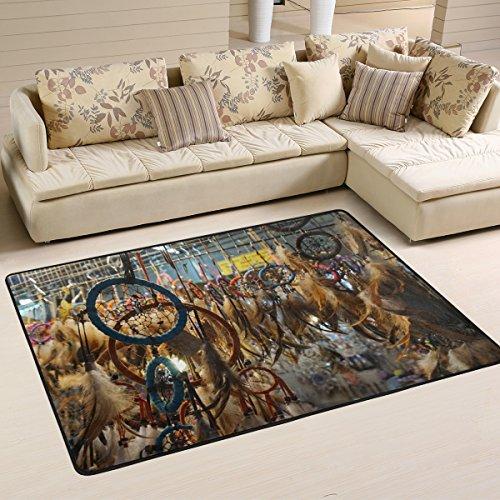 BENNIGIRY Rutschfeste Teppiche Carpet Kunst, Heimdekoration, Native American Indian-Mat Doormats für Wohnzimmer, Schlafzimmer, 36x 24cm, Polyester, Mehrfarbig, 72 x 48 inch - 24 Teppich 72 Läufer