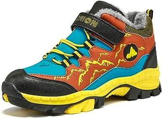Wanderschuhe Jungen Trekking Schuhe Wanderstiefel Kinder Winterschuhe Warm Gefüttert Stiefel Schnee Outdoor Camping Rutschfeste Blau Grün Orange Gr.30-40