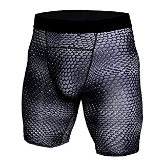 Anyu Running Sport Mens Tight Compression Shorts Training Wicking Short Pants Snake L