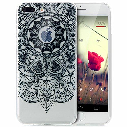iPhone 8 Plus Hülle,iPhone 7 Plus Hülle,Schutzhülle iPhone 8 / iPhone 7 Plus Silikon Hülle,ikasus® TPU Silikon Schutzhülle Case Hülle für iPhone 8 Plus / 7 Plus,Durchsichtig mit Indische Sonne Schmett Schwarz Mandala Blumen