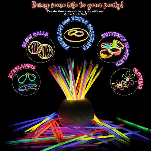 61u aDZ%2BciL - 543 Pack, 250 Varitas Luminosas, Glow Sticks, 293 Conectores - Pulseras, Collares, Gafas, Bolas Luminosas, Flores - Seguro y No Tóxico| Niños, Cumpleaños, Fiestas de Neón, Decoracion, Piñatas.