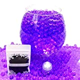 20g Aqua Water Crystal Beads Crystal Soil Gems Bio Gel Balls Wedding Vase Decoration - Waterproof LED Light Included - Purple