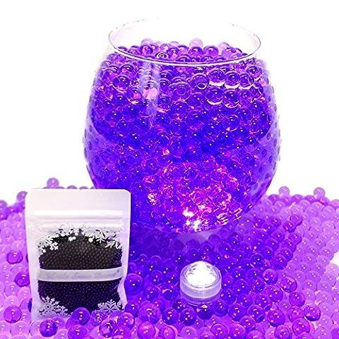 50g Aqua Gems, Water Beads, Water Crystal, Bio Gel Balls, Crystal Soil - 3 x Waterproof LED Lights Included (Purple)