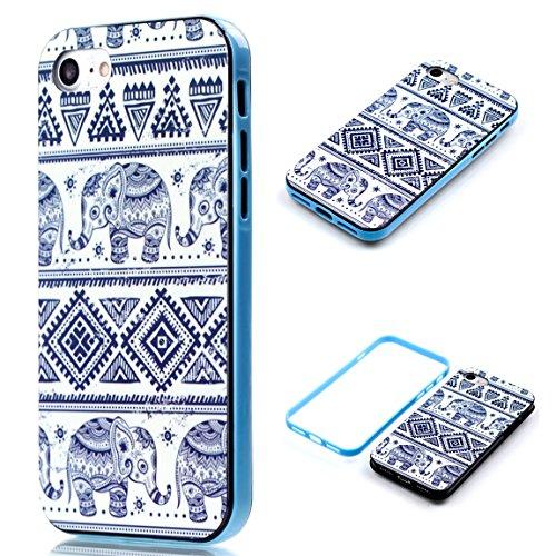 Voguecase® Pour Apple iPhone 7 4,7, 2 in 1 Rigide Plastique Shell Housse Coque Étui Case Cover(coeurs colorés)de Gratuit stylet l'écran aléatoire universelle éléphant