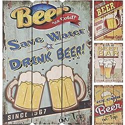 Letreros retro de cerveza de madera, 4 diseños diferentes y originales, se puede utilizar en interiores o al aire libre, ideal como decoración de pared