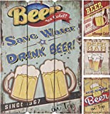 Elyte Letreros de cerveza de madera, 4 diseños diferentes y originales, se puede utilizar en interiores o al aire libre, ideal como decoración de pared