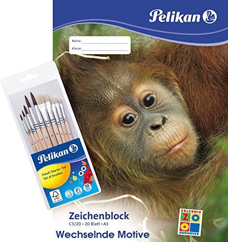 1 X Pinsel (Pelikan Zeichenblock A3 mit Tiermotiven (sortiert - keine Motivwahl möglich), 100 g/m², 20 Blatt - Kombi-Set (2 x A3 Zeichenblock + 1 x 10er Pinsel-Set))