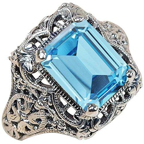 Vorra Fashion  -  925 Sterlingsilber Sterling-Silber 925 Smaragdschliff Aqua Synthetischer Aquamarin (Ringe Aquamarin Im Smaragdschliff)