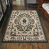 Carpeto Klassischer Orientteppich & Perserteppich mit Orientalisch Muster Kurzflor in Grün/Top Preis - ÖKO Tex (60 x 100 cm)
