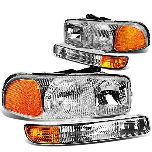 gmc-sierra-gmt800-pair-of-oem-style-chrome-housing-headlights-w-amber-corner-bumper-lights-by-auto-d