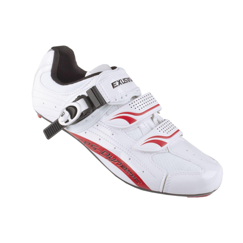 Exustar E-SR403 Rennrad-Fahrradschuhe, weiß/Rot, 39