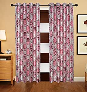 Deco India 2 Piece Polyester Eyelet Floral Window Curtain - 9 ft, Multicolor