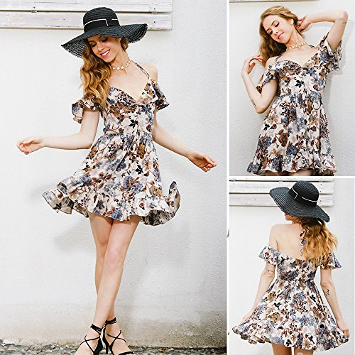 MEXI Damen Sommerkleid Chiffonkleid mit Polka Dots Partykleid A-Linie Knielang 34-46 Style 02-Rot