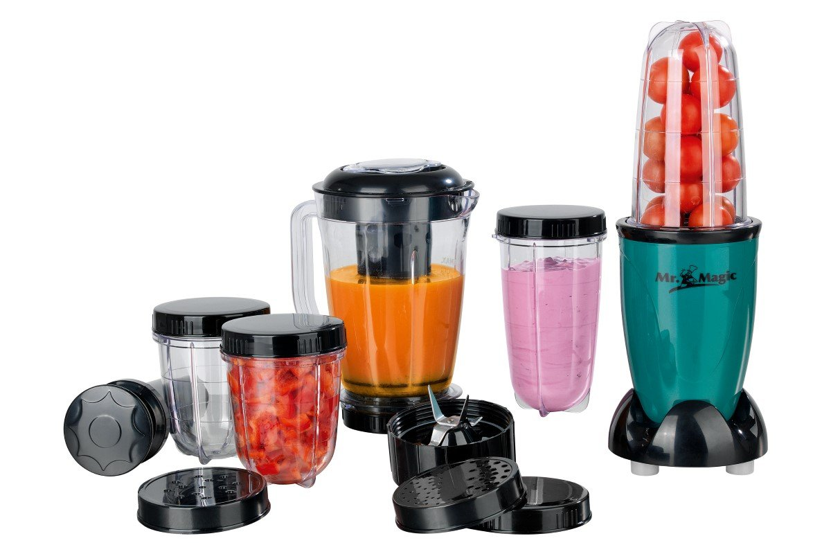 GOURMETmaxx-05611-Mixer-Mr-Magic-Ideal-fr-Smoothies-Cocktails-18-teiliges-Set-8-Funktionen-400-Watt-Trkis-Schwarz