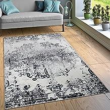 Paco Home Designer Teppich Wohnzimmer Teppiche Ornamente Vintage Optik Schwarz Weiss