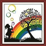 YEESAM ART Neu Kreuzstich Stickpackung - Regenbogen -Blasen-Baum-Mädchen 14 CT