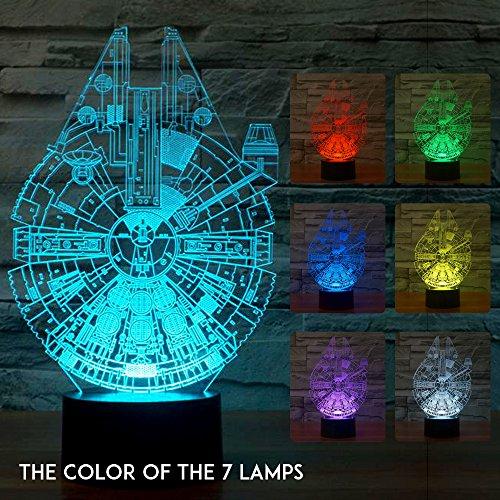 Mangopie Millennium Falcon Nachtlicht,3D Optical Illusion Star War Lampe mit 7 Farbwechsel & Fernbedienung für Kinder Jungen Geburtstagsgeschenk Home Dekoration