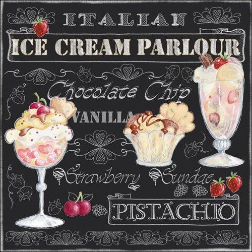 4Papier Servietten für Decoupage–3-lagig, 33x 33cm–Ice Cream schwarz (Ice Cream-servietten)
