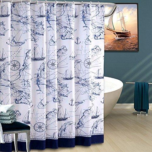 ToHa Duschvorhang Ozean Thema Seekarte,Polyester Fabrik Wasserdicht und mouldproof für Badezimmer,Navy Blau und Weiß (Halloween Geist Gelten Für)