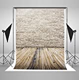 5x7 ft Light Gray Brick Wall Photo Backgrounds Wood Floor Wrinkle free Photography Backdrops for Children wd1492