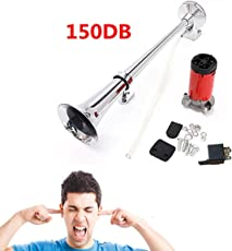 AUDEW 12V Single Trumpet Air Horn Chrome + Compressor Super Loud 150db For Truck Lorry Boat Train