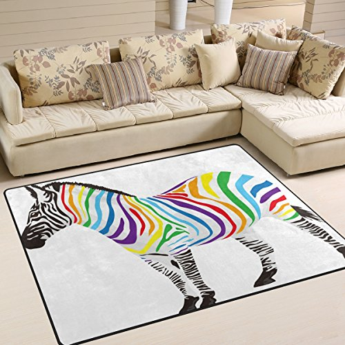 Bereich Teppich, bunt, Animal Zebra Print Teppich Designer Super Soft Polyester Große rutschfeste Modern Bad-Teppiche für Schlafzimmer Wohnzimmer Hall Abendessen Tisch Home Decor 121,9x 160cm, Textil, multi, 58 x 80 inch (Zebra-print-teppiche 8x10)