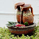 #1: Kurtzy® Antique Indoor Natural Look Jug Water Fountain with Lighting System and Electric Pump- Easy Installation (21x18x18cm)
