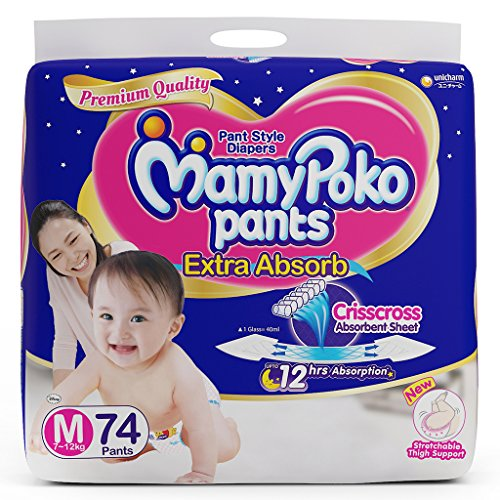 MamyPoko Pants Extra Absorb Diaper, Medium, Pack of 74