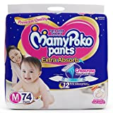 #7: MamyPoko Pants Extra Absorb Diaper-Medium Size, Pack of 74 Diapers (M-74)
