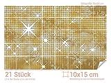 GRAZDesign 766099_10x15_50 Fliesenaufkleber Goldene Sterne für Deine Kacheln | Wand-Deko für Bad/Küchen-Fliesen (Fliesenmaß: 10x15cm (BxH)//Bild: 75x50cm (BxH))