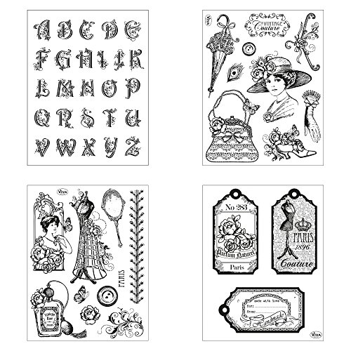 Clear Stamps 4er Set (Paris) - Silikon-Stempel, Transparente Clear-Stamps, Wiederverwendbar & Anlass vorsortiert von Viva Decor