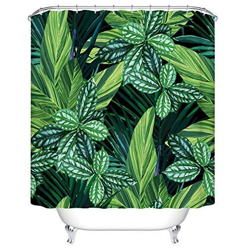 Grün Blätter mit Schwarz Boden Vorhang für die Dusche Custom Digital Print Polyester Stoff Vorhang für die Dusche Größe: 167,6cm (L) X 182,9cm (W) schwarz grün Stoff Dusche Vorhang Grün