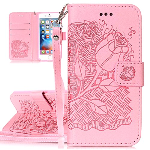Custodia per Apple iPhone 6 Plus, ISAKEN iPhone 6S Plus Flip Cover, 5.5 inch Custodia con Strap, Elegante Sbalzato Embossed Design in Pelle Sintetica Ecopelle PU Case Cover Protettiva Flip Portafoglio cranio:rosa