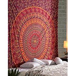 Hippie Mandala Tapestry Marsala algodón Tapiz Wall Hanging de Bohemia Por Rajrang