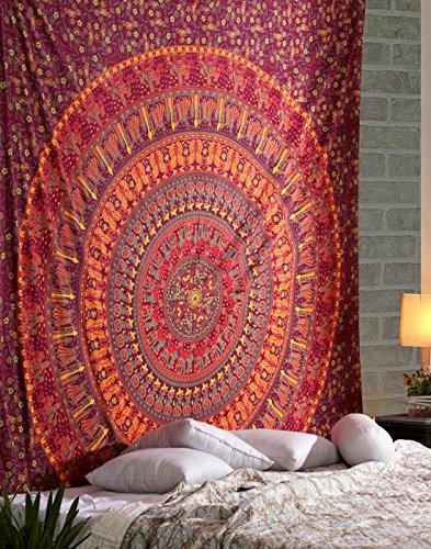 RAJRANG Mandala Wandteppich Baumwolle Indisch Wandbehang Orange Tapisserie Bohemian Wandtuch Blumen Hippie Tapestry (Orange-blumen-tischdecke)