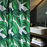 Aimjerry Grüne Tropische Palmen Lässt Stoff Duschvorhang Schimmelresistent, Wasserabweisend 180 x 180 cm
