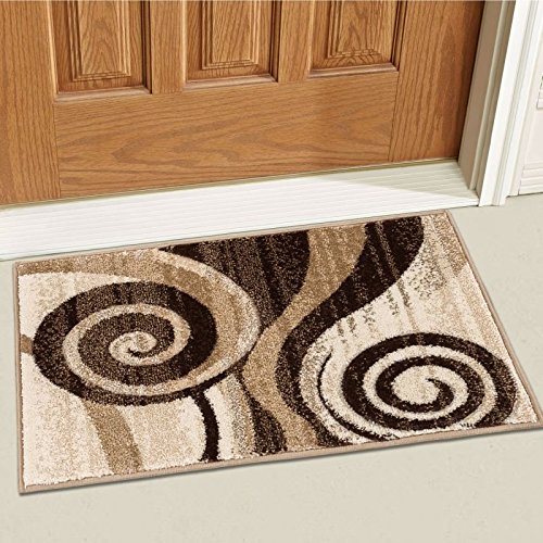 Well Woven 600583 Brown Whirlwind Modern Abstract Swirls 2' x 3' Mat Accent Area Rug Coffee Brown Swirl