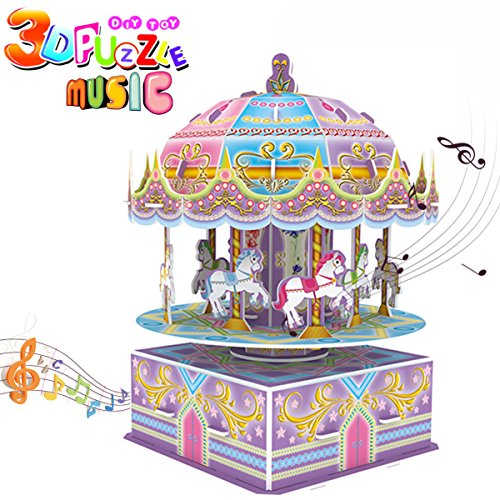 3D Whirligig Jigsaw Puzzles for Children, Carousel Horse Puzzle with Music DIY Building Model Early Learning Educational Toys Brain Teasers Kids Girls Toys Birthday Gift-29 Pcs