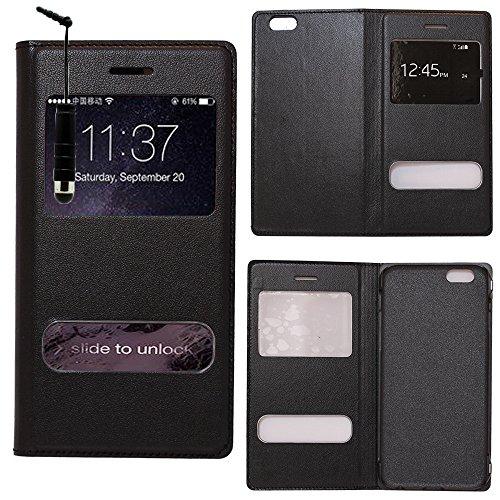 VComp-Shop® PU-Leder Schutzhülle mit Sichtfenster für Apple iPhone 6/ 6s + Großer Eingabestift - PINK SCHWARZ + Mini Eingabestift